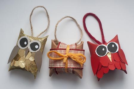 Hand-made decorative owls for christmas tree Reklamní fotografie