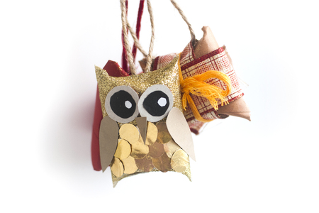 Hand-made decorative owls for christmas tree
