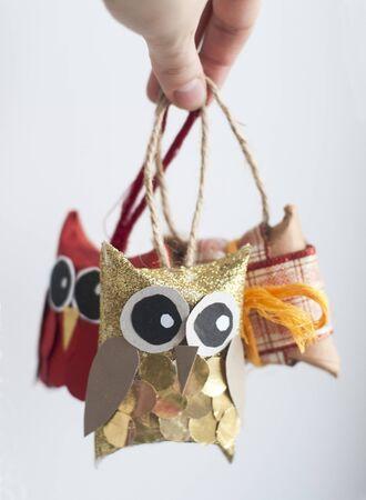 Hand-made decorative owls for christmas tree