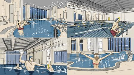 Illustrations of swimming pool and spa zone