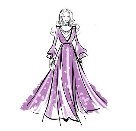 Fashion illustration of a girl catwalk