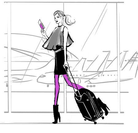 illustration de mode d & # 39 ; une jeune fille dans l & # 39 ; aéroport avec des