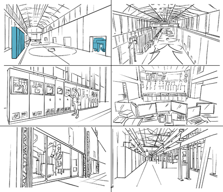 Storyboard with industrial interior and engines