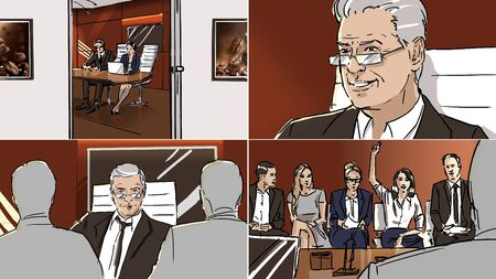 Color storyboard about job interview