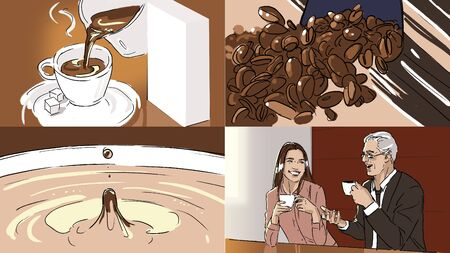 Storyboard with coffe in a cup and coffee beans Stok Fotoğraf