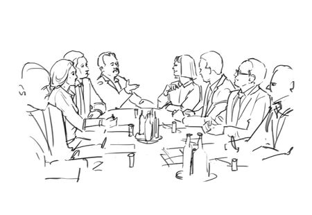 Storyboard with board meeting