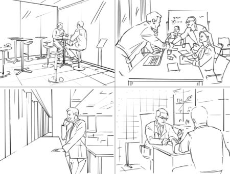 Storyboard with office life Stok Fotoğraf