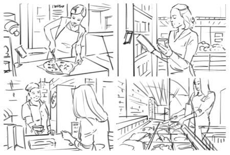 Storyboard with grocery, cafe