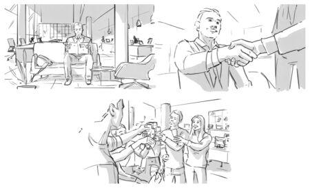 Storyboard: job interview, shaking hands, celebrating