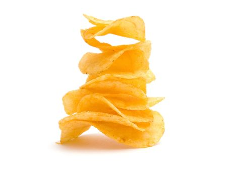 crisps: The image of the potato chips pyramid isolated on white
