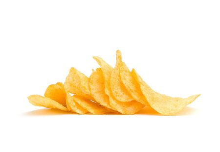 The image of the potato chips isolated on white photo