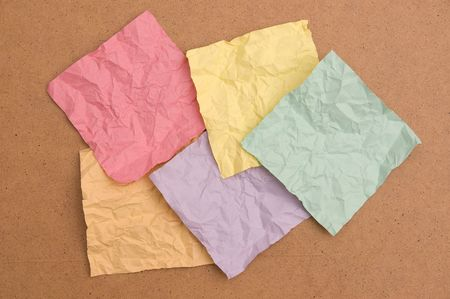 creasy: Crumpled note papers isolated on white background