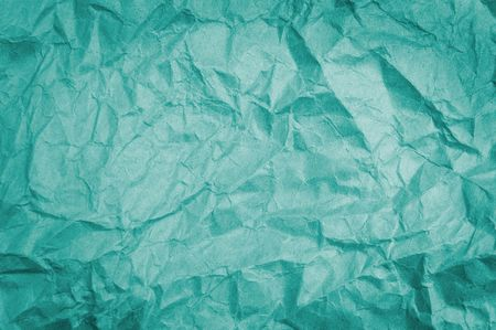 wrinkled paper: Teal crumpled paper background texture