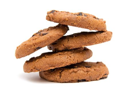 piramide alimenticia: La imagen de la pir�mide de cookies ronda aislado en blanco  Foto de archivo