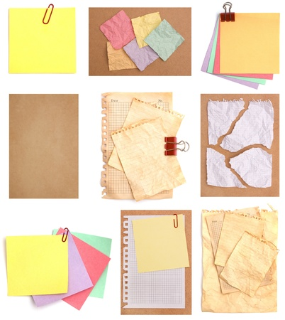 Set of variety papers isolated on white background photo