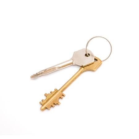 doorkey: Pair of door keys isolated on white background
