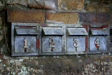 duplex: Post boxes on the High Street, Sydney, Australia Stock Photo