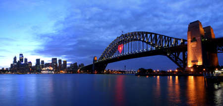Harbout Bridge and Sydney city view in the evening
