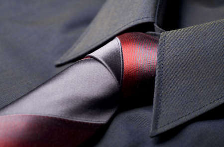 Black business shirt collar with the red and grey necktie Stock Photo - 3717290