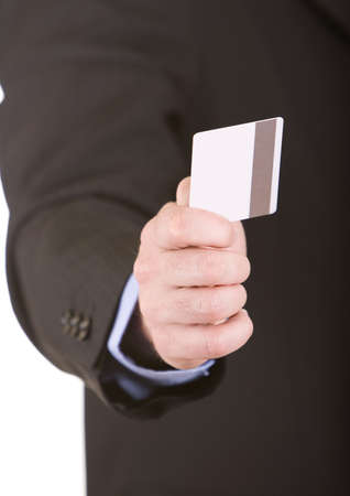 Businessman is holding a credit card Stock Photo - 3762859