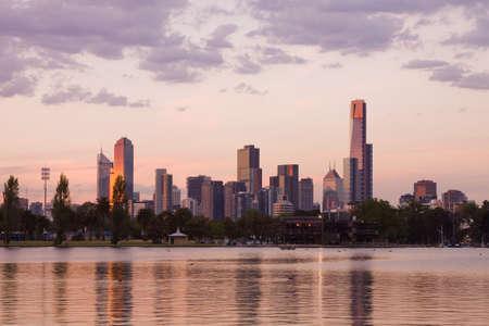 melbourne: Melbourne evening CBD Stock Photo