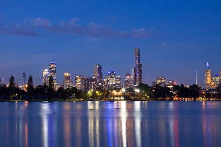 Melbourne night CBD panorama photo