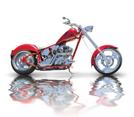motor bikes: Red chopper Stock Photo