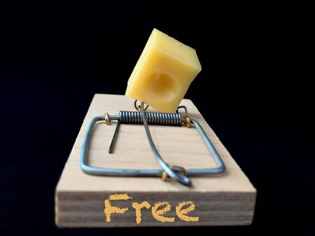 Free cheese in a mousetrap on a black background. Wooden trap with a bait with a metal mechanism for rats and mice.