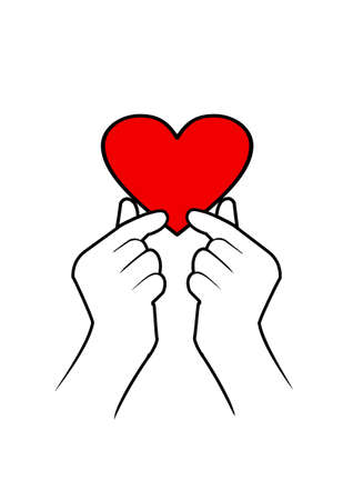 Image of a red heart in hands. Drawing of a hand holding a heart. Concept: loving, warm heart Фото со стока