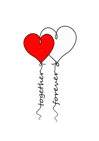 The sign of two hearts in the form of balloons. Linear simple icon for the holiday of love or wedding. Concept: together and forever