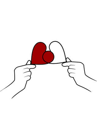 Image of two hearts in hands. Drawing hands holding a red heart. Concept: loving, hotter of heart