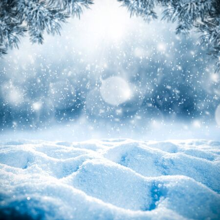 Snowy winter time and snow space for products and decorations or text. Archivio Fotografico - 133353242
