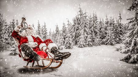 Santa Claus with a trumpet on sledges with snowy winter forest background.