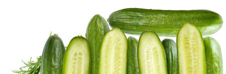 A fence made of cucumbers and a bunch of dill. Isolated on a white background.