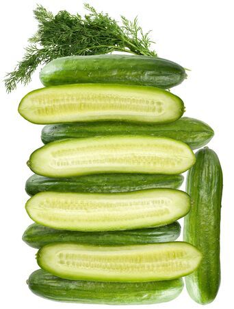 A huge tower made of cucumbers with a bunch of dill on the top. Isolated on a white background.
