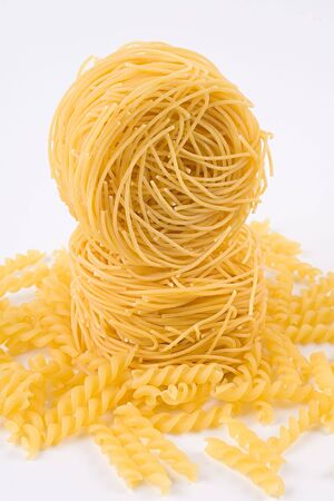 Two rolls of pasta stacked on top of each other. Stock Photo