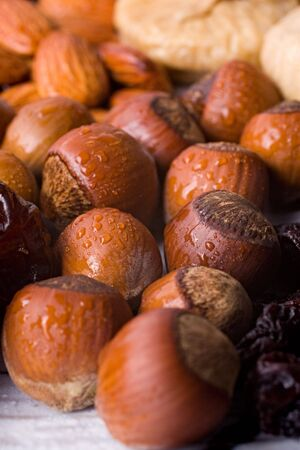 A composition of dried hazelnuts, figs, prunes and almonds. The hazelnuts are in drops of water. Close-up with shallow depth of focus.