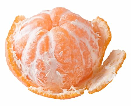 A juicy tangerine partially peeled. Isolated on a white background.