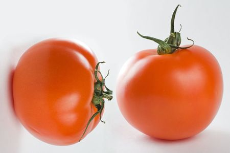Two elegant tomatoes. One is on a horizontal surface, another is on a vertical surface. A composition of two photos. Stock Photo