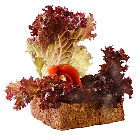 A sandwich with a roll of salmon and leaves of red lettuce. Isolated on a white background. Stock Photo
