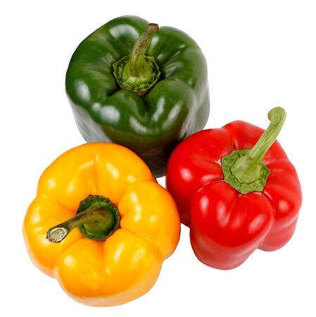 A group of three bell peppers of different colors: red, yellow and green. Isolated on a white background.