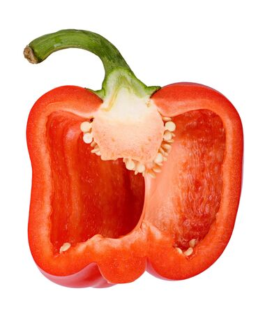 A lengthwise section of a red bell pepper. Isolated on a white background. Closeup. Stock Photo