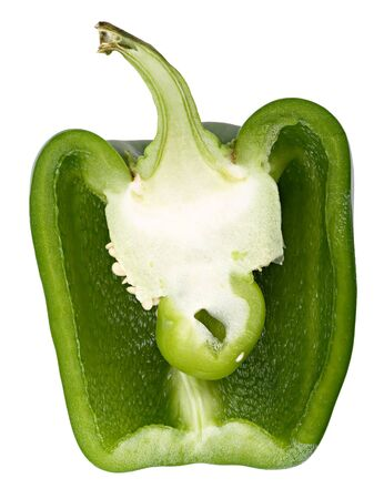 A lengthwise section of a green bell pepper. Isolated on a white background. Closeup.