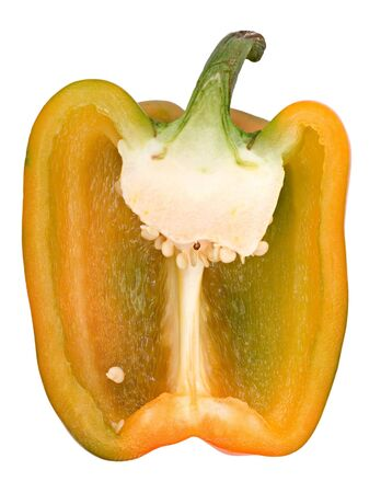 A lengthwise section of a yellow bell pepper. Isolated on a white background. Closeup.