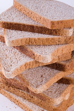 A stack of dietary bread slices.