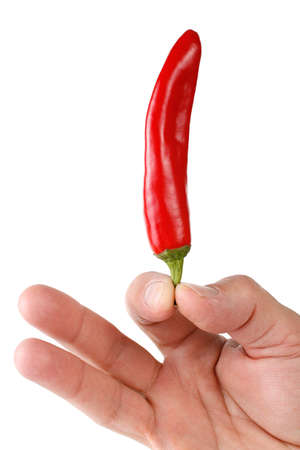 A mans hand holding a red chili pepper. Isolated on a white background.
