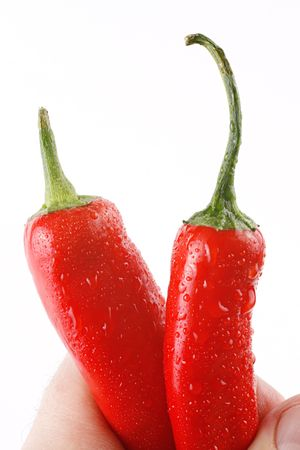Two red chili peppers in a mans hand. Close-up. White background.