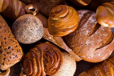 Variety of bread, bagels and buns. A view from above. Stock Photo
