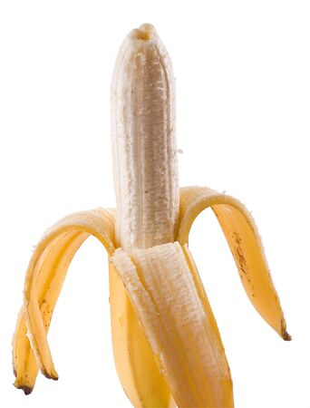 A ripe banana partially peeled. Isolated on a white background. Stock Photo