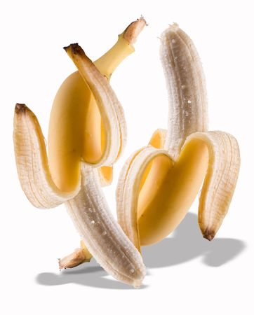 Two ripe bananas partially peeled. Isolated on a white background. A composition made of two images.